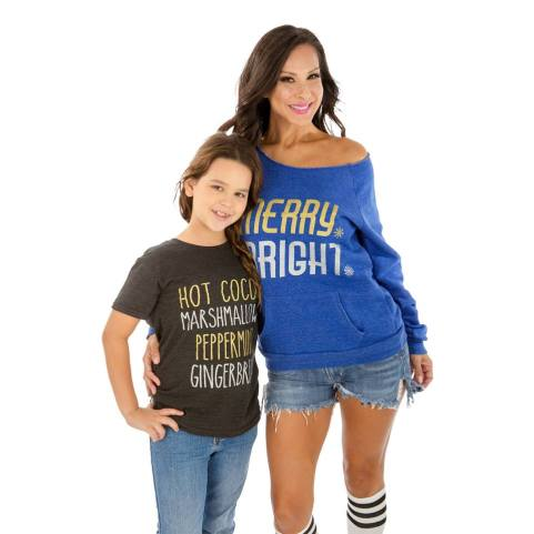 FD Holiday Kids and wide shoulder royal blue eco-fleece with pocket sweatshirt.
