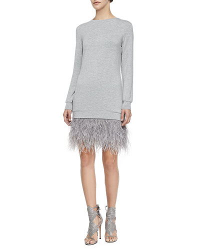 Haute Hippie Sweater Dress with Feathers