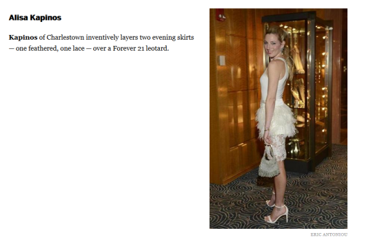 Alisa Kapinos spotted again the Boston Globe Magazine for her standout Style.