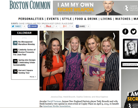 Boston Common Magazine with Heidi Bruschi and Sofia Ostrer at the Daivd Yurman Event, April 2015
