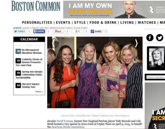Boston Common Magazine with Heidi Bruschi and Sofia Ostrer at the Daivd Yurman Event, April 2015