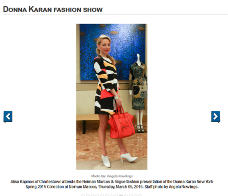 Alisa featured in the Boston Herald for her Spring look at the Donna Karan fashion show.