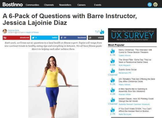 A 6-Pack of questions with barre instructor, Jessica Diaz on Bostinno.com