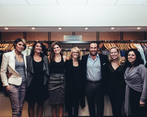 Crane&Lion Team:  left to right Kim Ortengren (director of design and production), Anna Saluti (sales manager), Kaity Cimo (director of marketing), John Udelson (CEO), Leanne Gent (managing partner, operations), Caitriona Taylor (vp, sales), Lauren O'Neill (technical design manager).  Photo credit Brad Romano