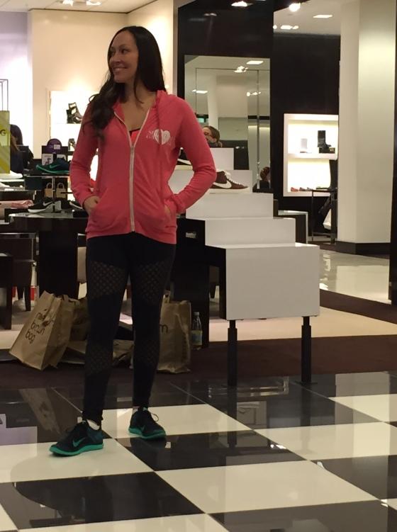 Jessica in her favorite Spiritual Gangster hoodie, Alo leggings and Nike Sneakers