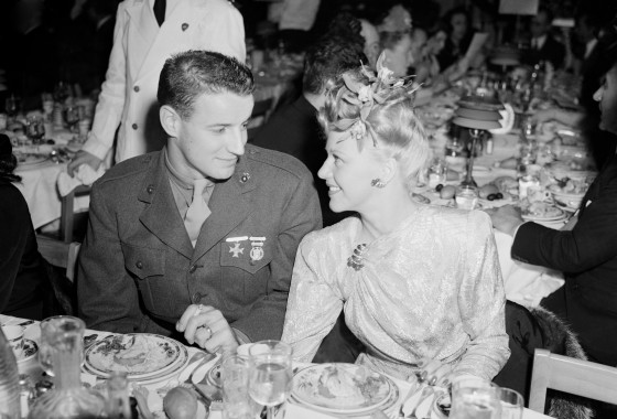 1943-Ginger Rogers & husband, Pvt. Jack Briggs, attending the Annual Academy of Motion Picture Arts and Sciences Awards