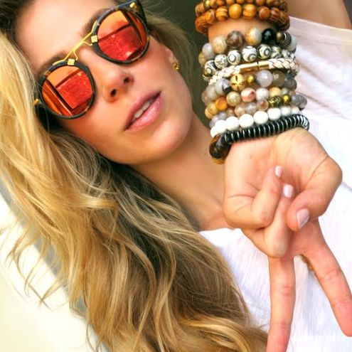 "April looking gorgeous in her ""Arm Party"" bracelet separates that she just launched"