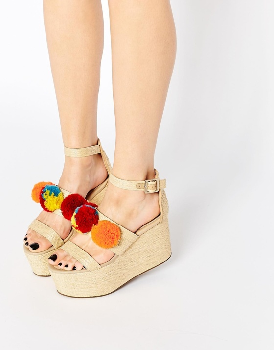 ASOS Pom Pom Wedge Sandals